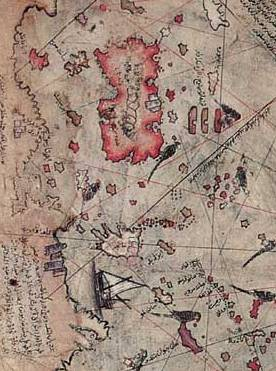 Section of the Piri Reis Map Depicting the East Coast of North America